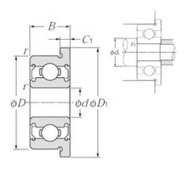 9,525 mm x 22,225 mm x 7,142 mm  9,525 mm x 22,225 mm x 7,142 mm  NTN FLR6ZZ deep groove ball bearings