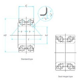 43 mm x 76 mm x 43 mm  43 mm x 76 mm x 43 mm  NTN AU0908-2LL/L260 angular contact ball bearings