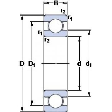 105 mm x 225 mm x 49 mm  105 mm x 225 mm x 49 mm  SKF 6321 deep groove ball bearings